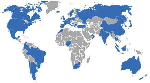 Map of world where cogendo operates